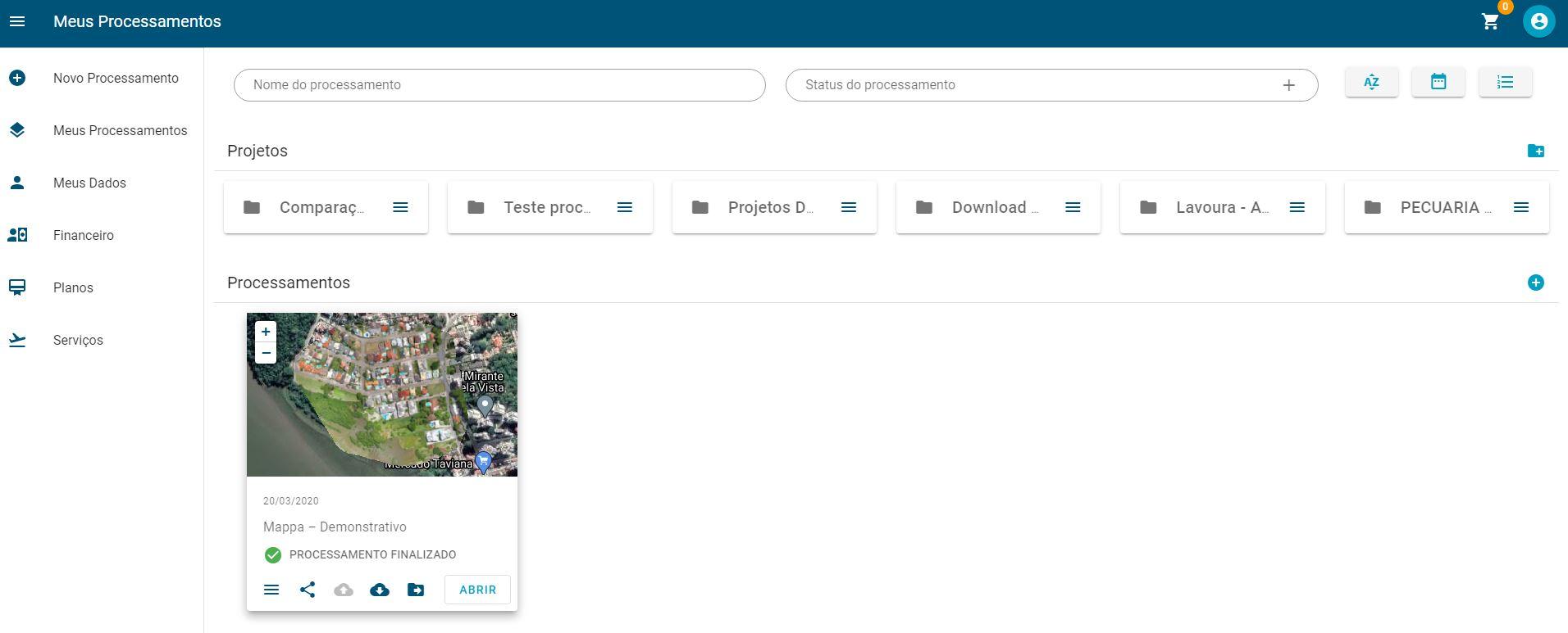captura de tela do dashboard da plataforma de processamento de imagens de drones mappa