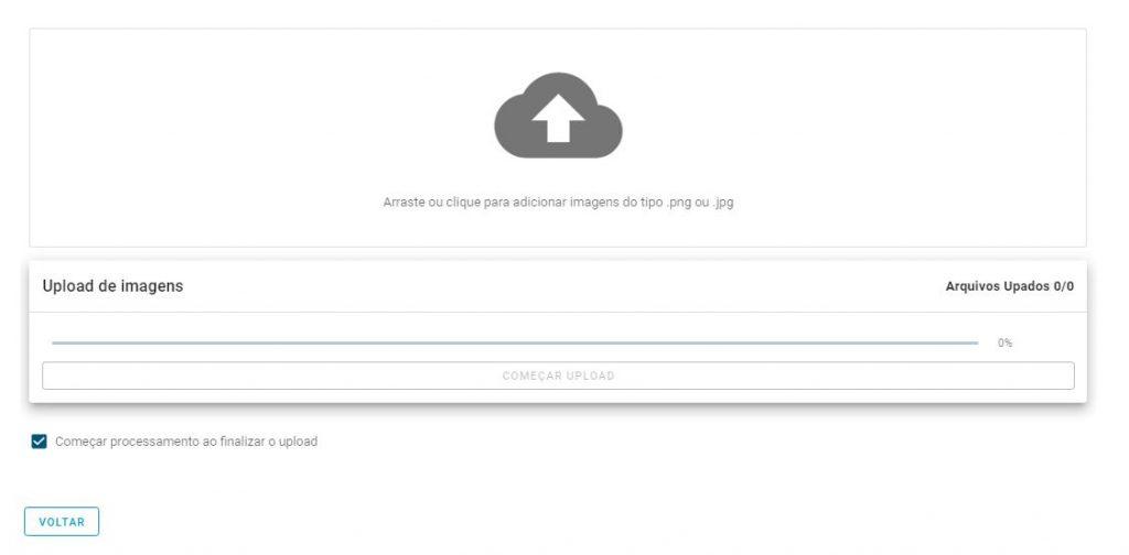 tela de upload de um novo processamento de imagens na mappa