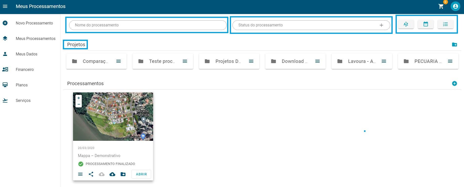 print dashboard mappa destacado para gestao de projetos
